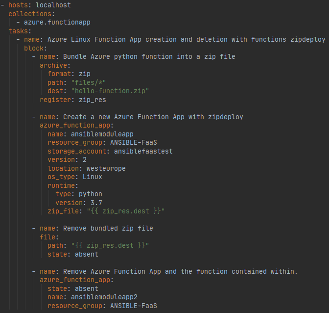 Ansible playbook for testing Azure Function App module.