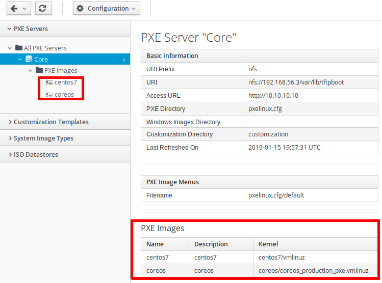 List of available PXE images.