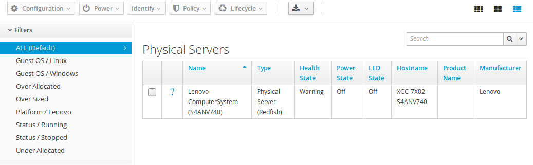 List of available servers.